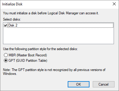 fix disk not showing in disk management