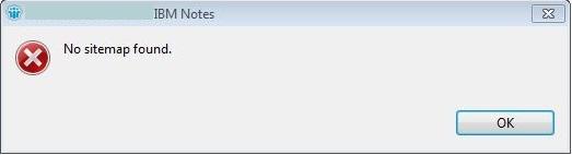 Lotus Notes error no sitemap found