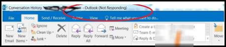 outlook freezes when opening conversation history
