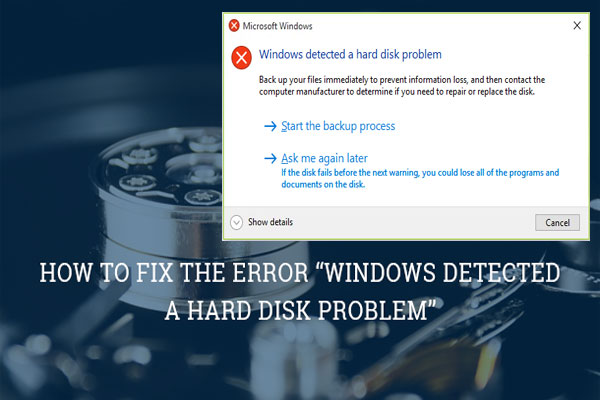 windows has detected a hard disk problem virus