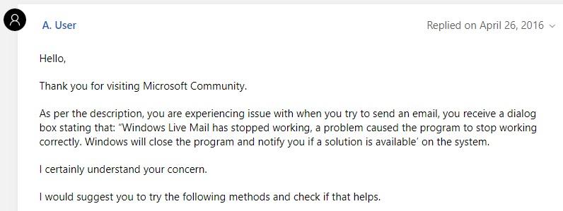 windows live mail not responding