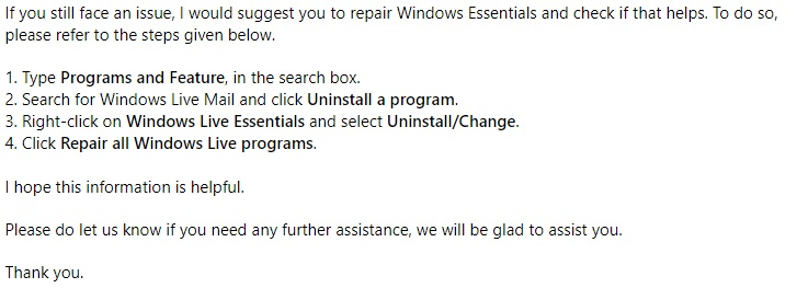 windows live mail 2012 not working after windows 10 update