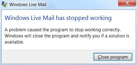 windows live mail not working windows 7