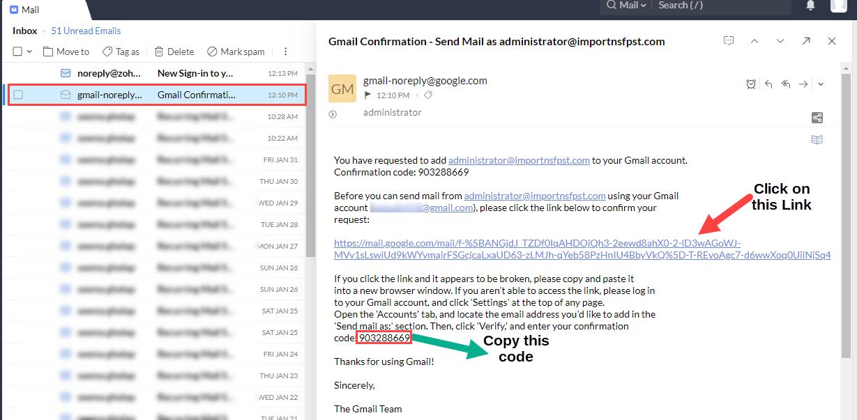 Zoho mail to gmail account addition verification