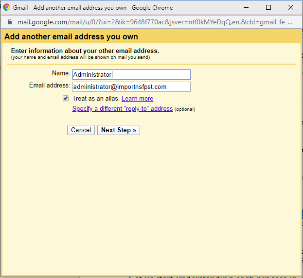 Enter Zoho address to import emails to Gmail