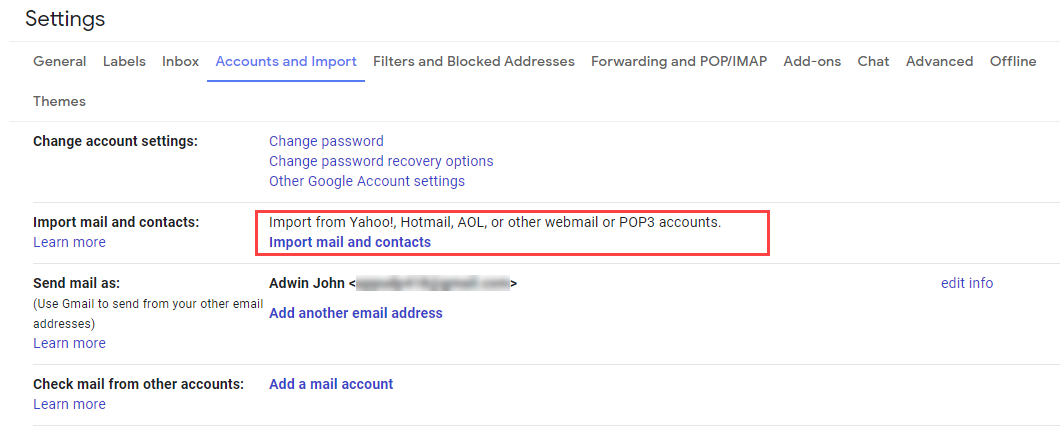 import zoho mail to gmail
