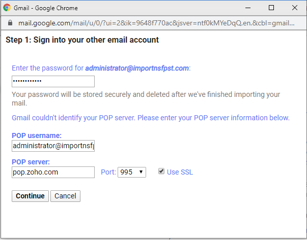 enter zoho mail server settings and account password