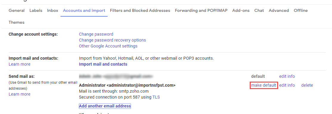 make zoho mail default address in Gmail