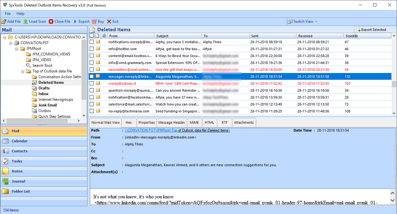 preview deleted outlook items