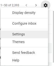 Settings option in Gmail