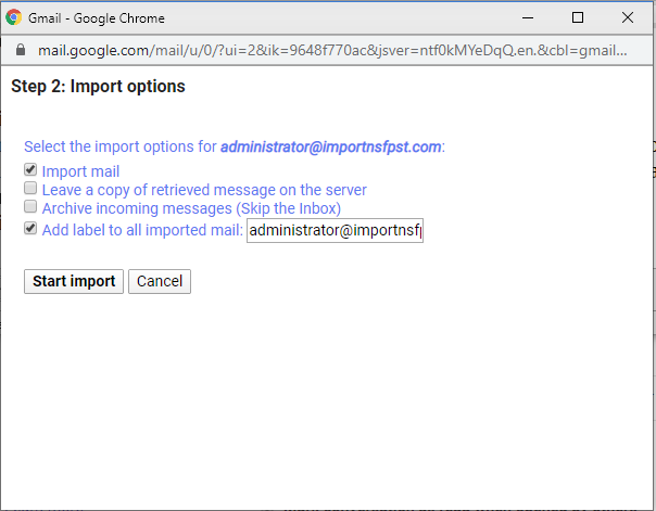 select zoho emails manage options and start import to gmail
