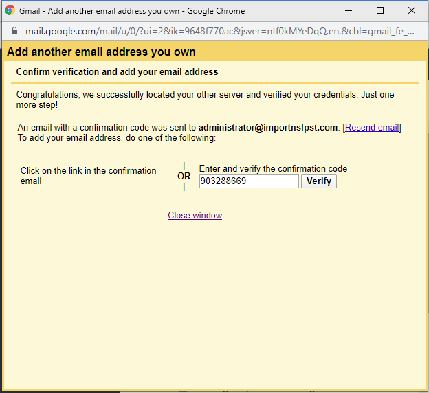enter verification code in the text field