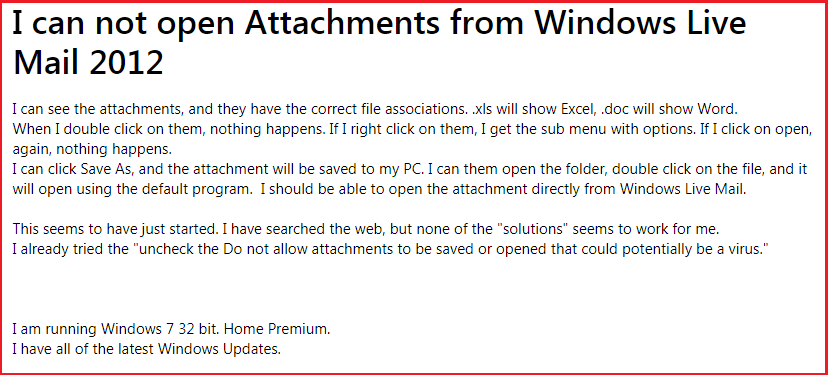 windows live mail 2012 not opening attachments