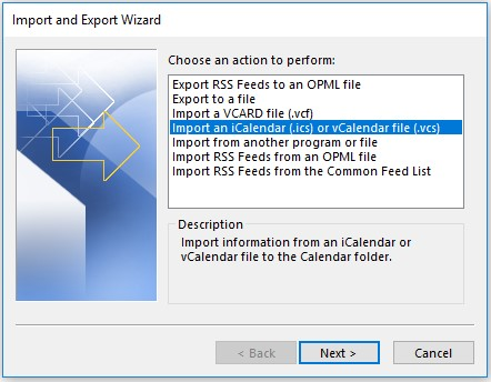 import an ics file