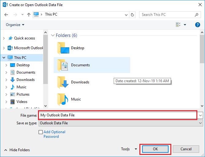 create new blank pst file