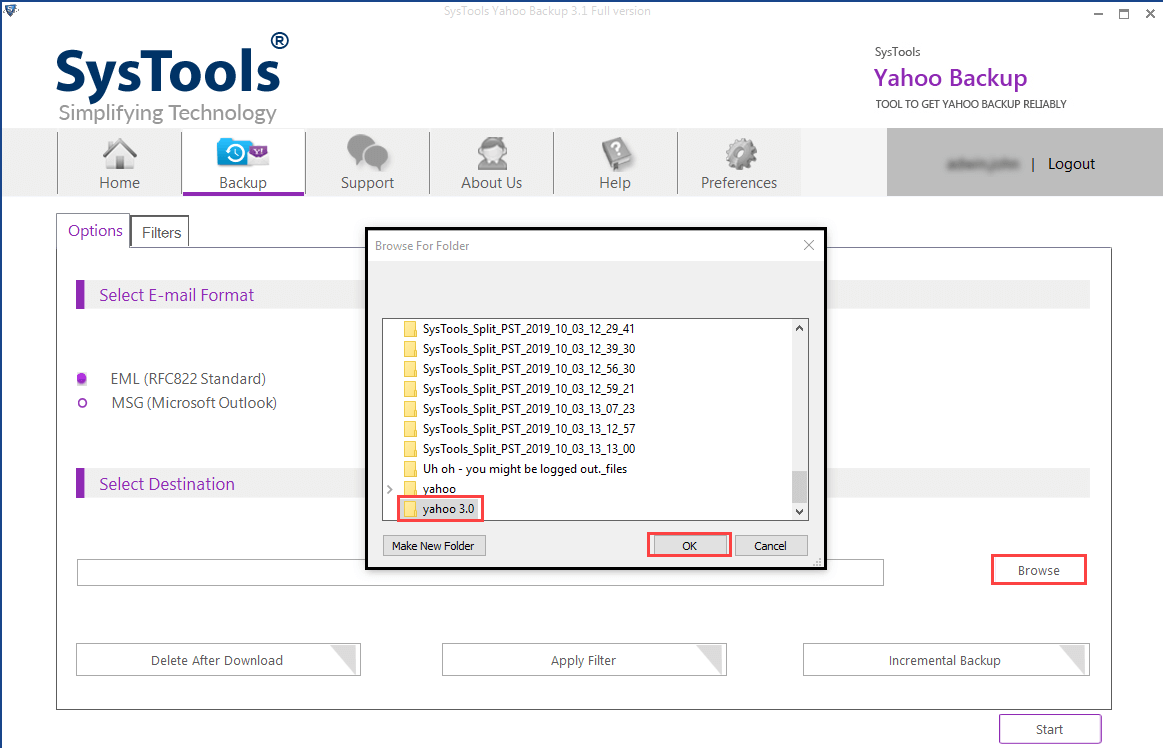 browse location to save Yahoo emails