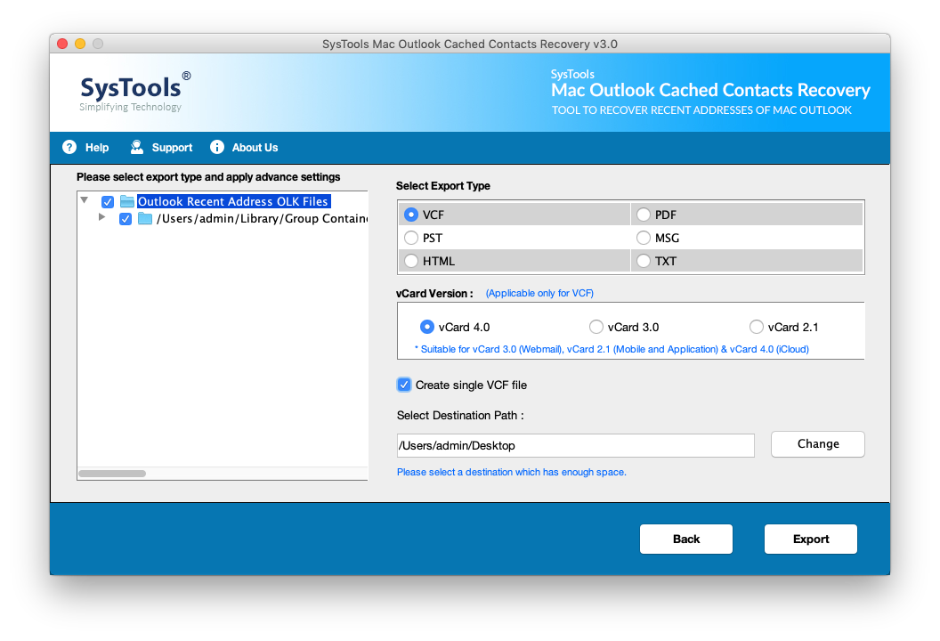 Export Mac Outlook cached contacts to PST