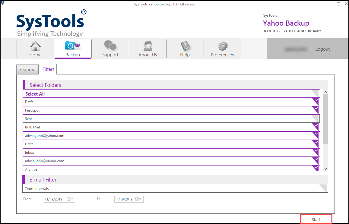 extract yahoo emails