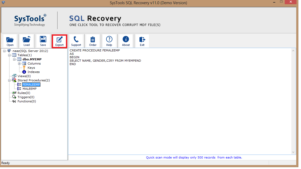 click export to attach the SQL database without transaction log file