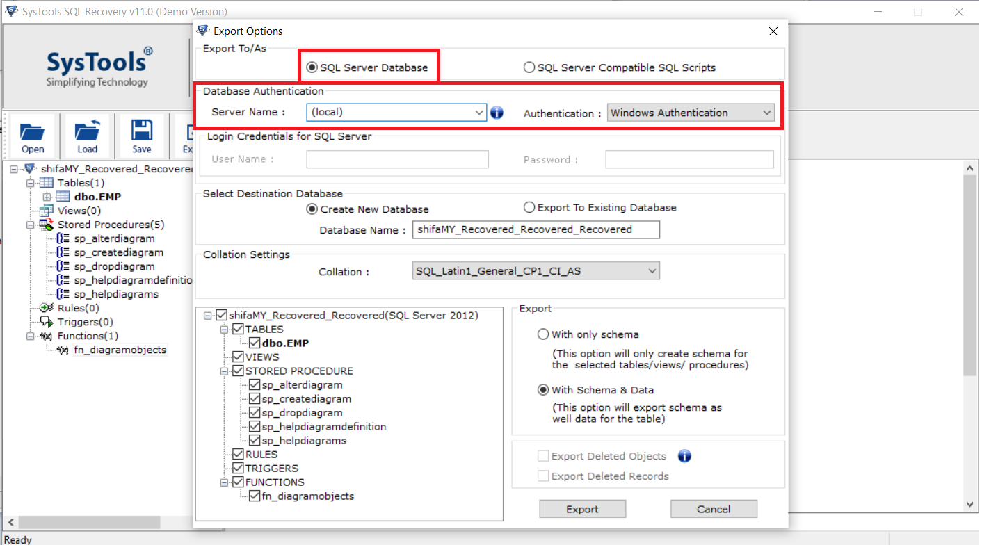 select export to SQL database and provide Server credentials