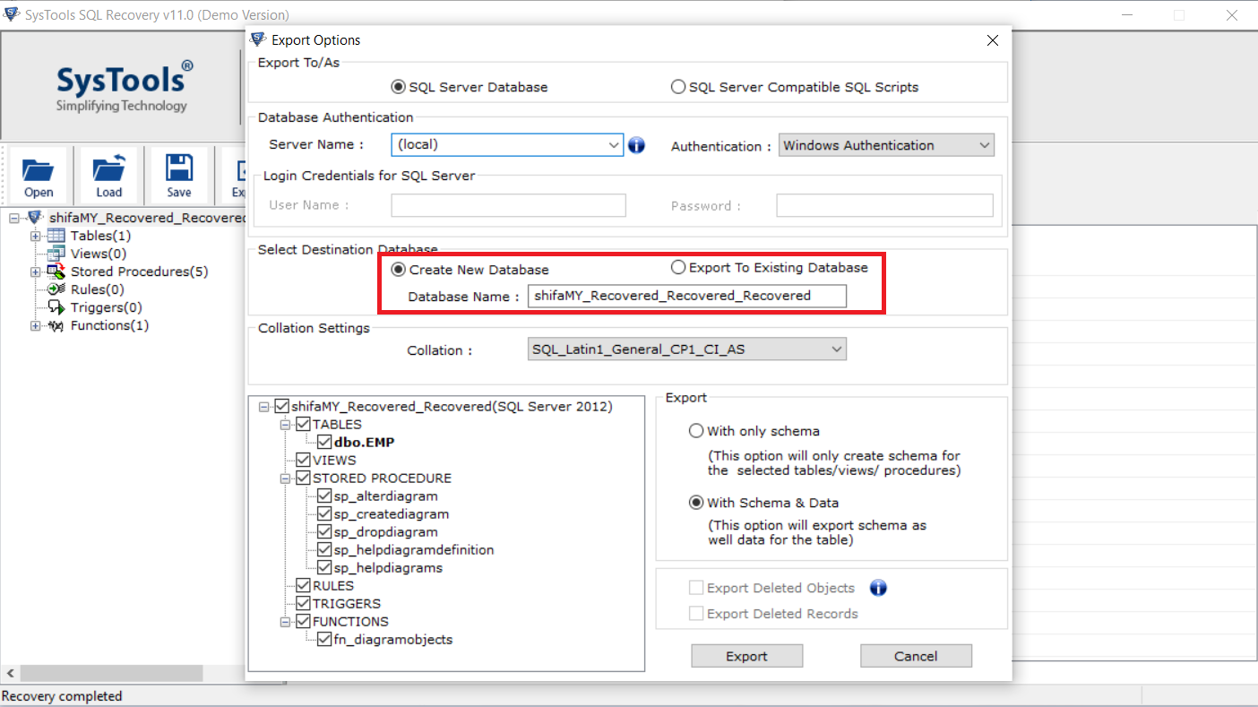 Choose either Create New Database or Export to Existing Database