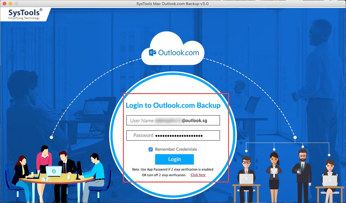 login with outlook.com account