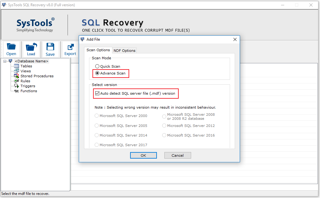 select scan mode and SQL Server version of damaged MDF file