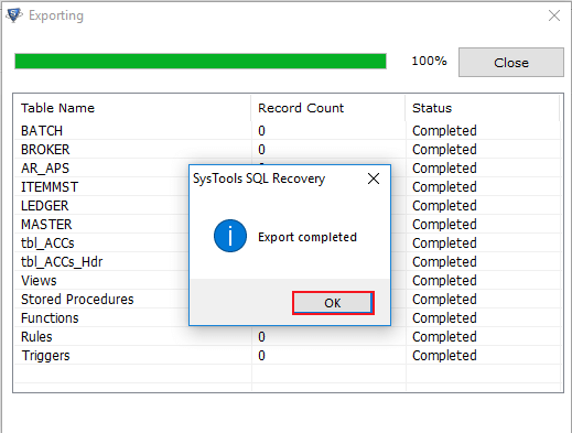 export-completed-successfully