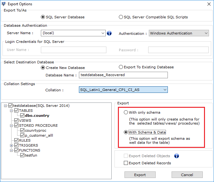 export-database-with-or-without-schema