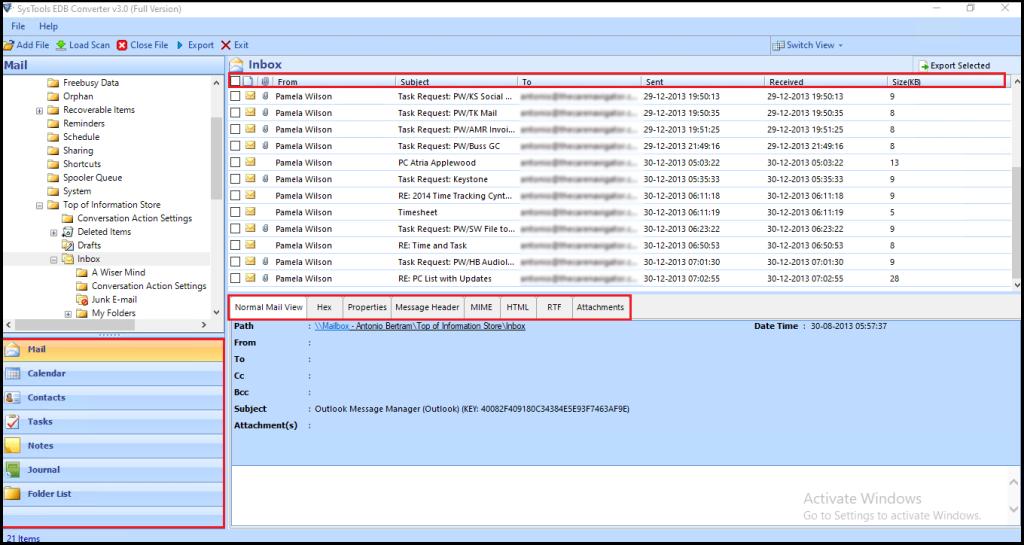 preview  offline EDB mailboxes