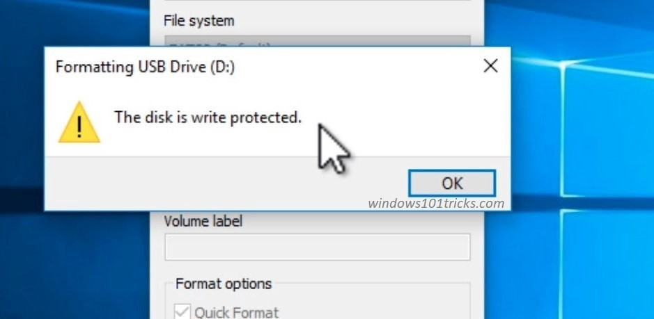How to remove write protection from usb thumb drive