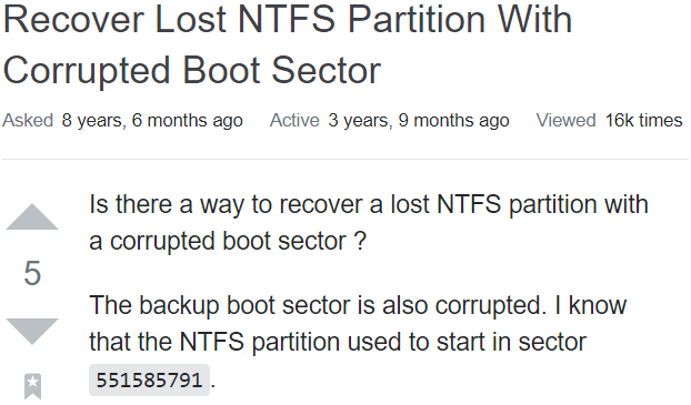 How to Recover Data from Corrupt NTFS Boot Sectors