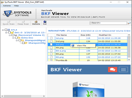 view windows bkf file items