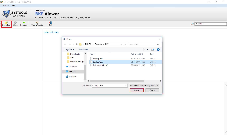 open bkf file windows 10