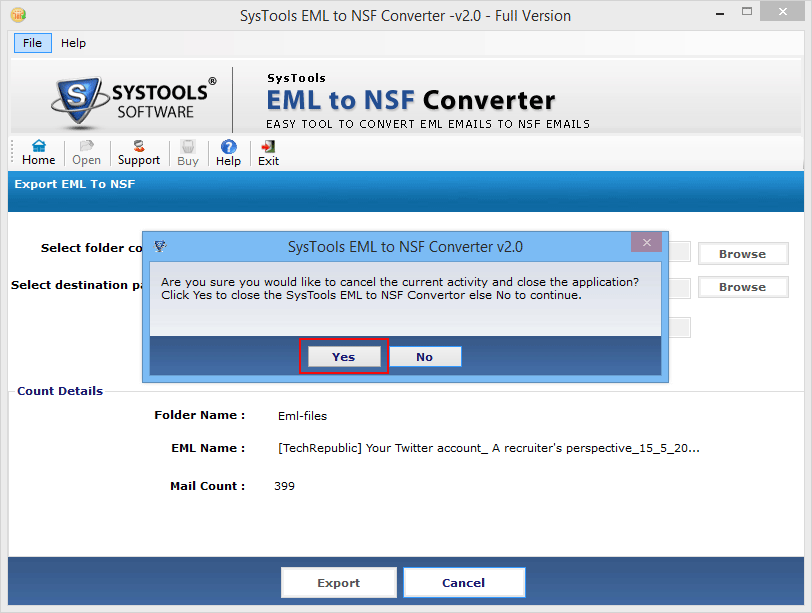 convert emails to nsf