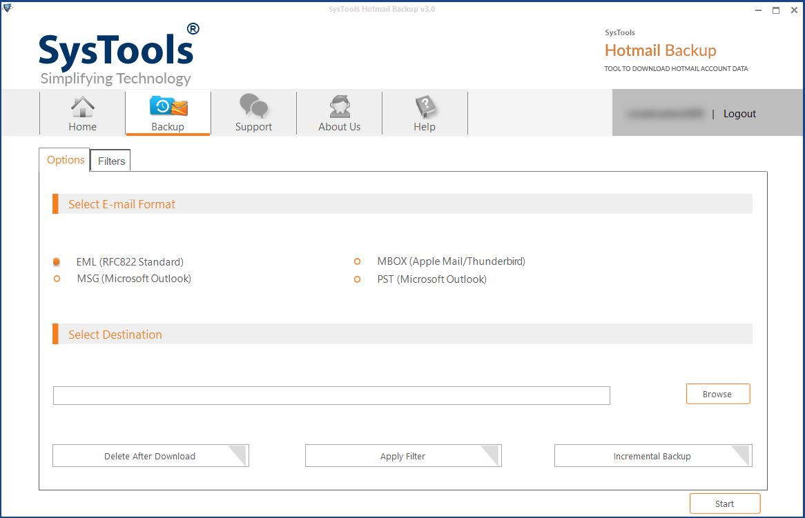 Backup Hotmail mail Account