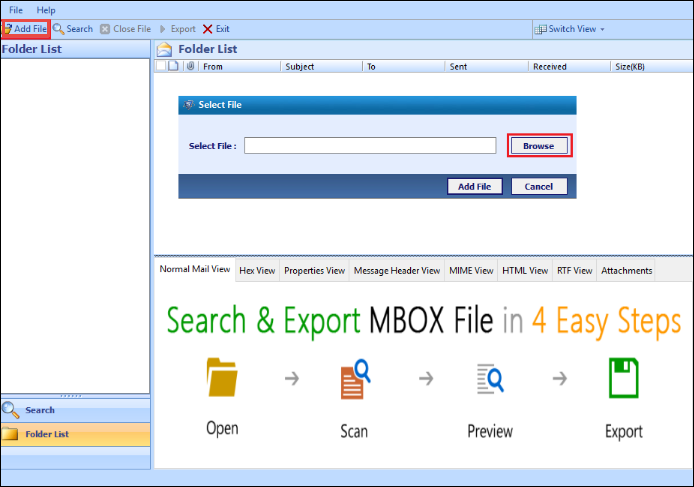 steps to view mbox file online