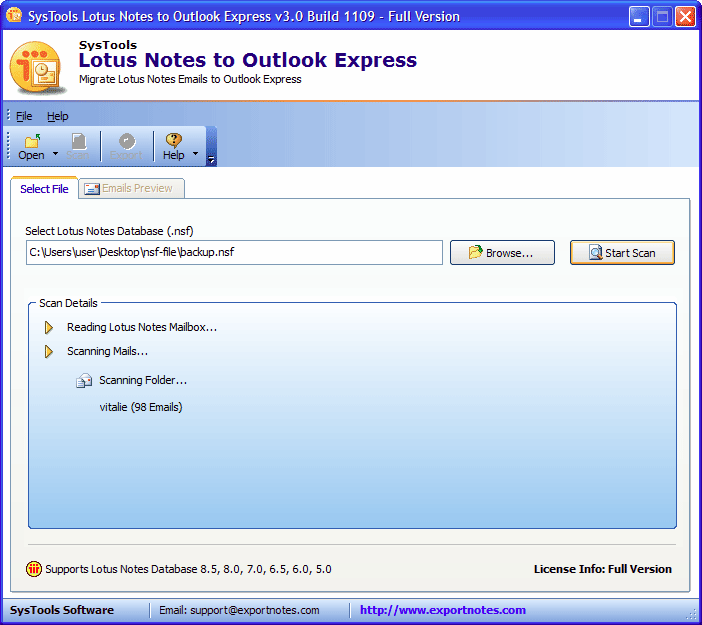scan lotus notes emails