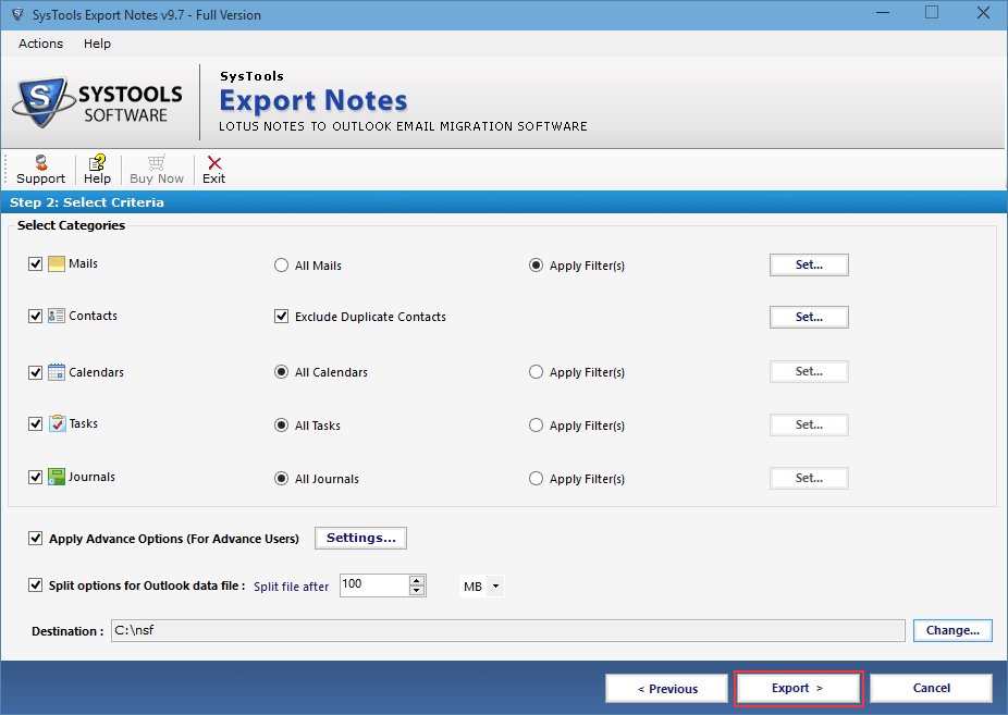 select pst option