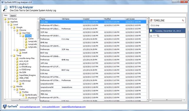 view ntfs log file scan resport