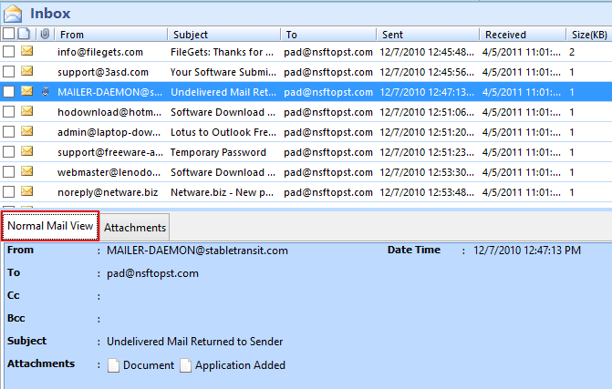 preview olm file emails